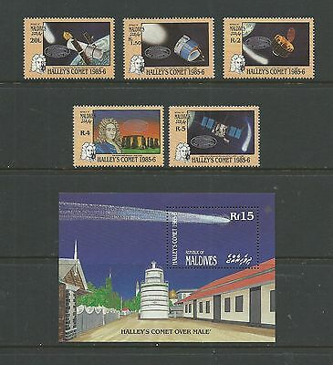 Maldives 1986 Halley's Comet (1st series) SG1150-54 + MS1155 mnh, Cat.£14.