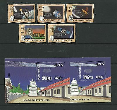Maldives 1986 Halley's Comet (2nd series) SG1206-10 + MS1211 mnh, Cat.£12-75.