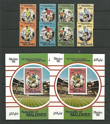 Maldives 1986 World Cup (Imperf & perf) SG1174-77 + MS1178 mnh, Cat.£36.