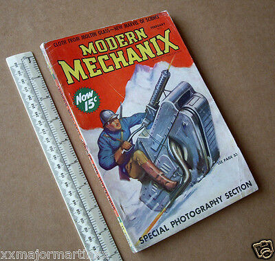 1938 Modern Mechanix USA Hobby Science Technical Pulp Tracked Snow Motorcycle