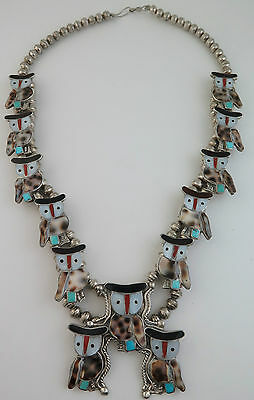 Magnificent Vintage Sterling Silver & Mosaic Inlay Owl Squash Blossom Necklace