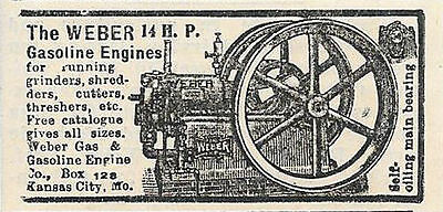 1904 Weber 14 Hp Gas Gasoline Engine Ad Kansas City Mo Missouri