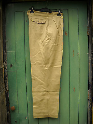Vintage 1950s FRENCH ARMY TAN CHINO TROUSERS 36W (1930s 1940s Swing Rockabilly)