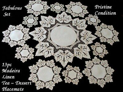 FANCY 13 pc MADEIRA Linen Placemats Dessert Tea Luncheon Hand Embroidered Vtg