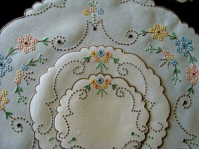 FAB13pc MADEIRA Linen Placemats Dessert Tea Set Hand Embroidered Pastels Vintage