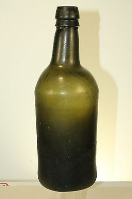 Early Mallet Pontil Black Glass Rum Bottle 10''