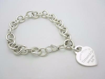 "Please Return to Tiffany & Co. Silver Heart Tag Bracelet 8"" EXCELLENT"