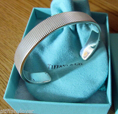 Tiffany & Co. Coin Edge Cuff Bangle Bracelet Sterling Silver 925