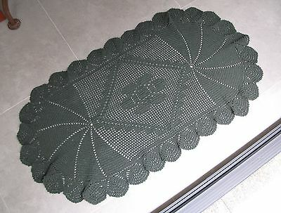 NEW Handmade Oval Pine Green Large Scalloped Crocheted Rug 45x24