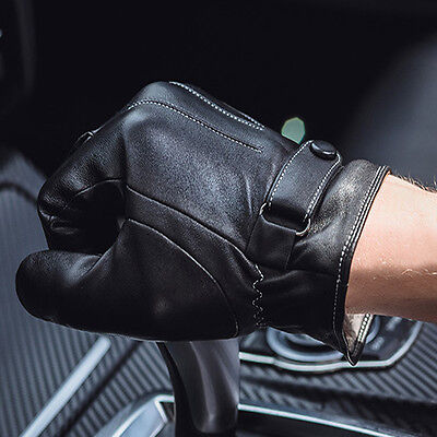 Black Men Winter Leather Motorcycle Full Finger Touch Screen Warm Gloves Fashion