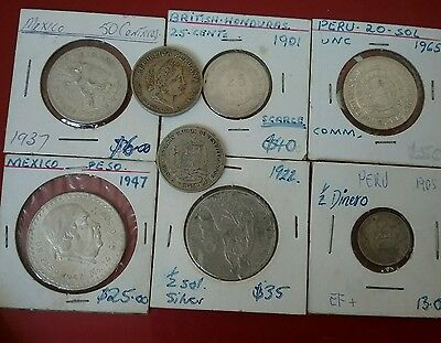 Silver  South American coins and others