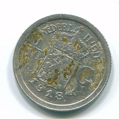 1918 Netherlands East Indies 1/10 Gulden Silver Colonial Coin Nl13334#3