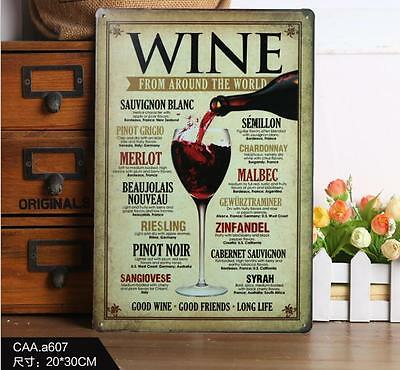 WINE FROM AROUND THE WORLD Metal Tin Sign Home Bar Pub Tavern Wall Poster Decor
