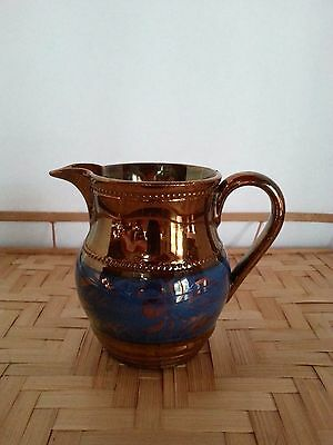 """Antique Copper Lusterware Pitcher/Creamer Blue Band 3 5/8"""" Tall"""