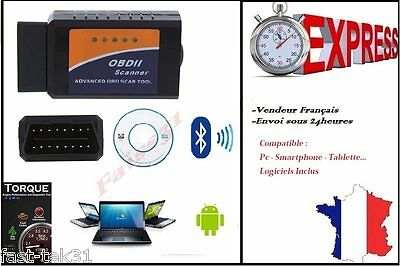 OBD2 Bluetooth Interface Diagnostique ELM 327 OBDII Diagnostic Auto Android OBD
