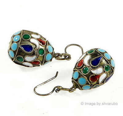 """Antique Victorian Russian Champleve Enamel Silver """"faberge"""" Egg Earrings"""