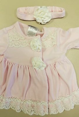 Wendy Bellissimo Baby Girl Pink White 3 Piece Pants Outfit 9 Months 16-18lbs