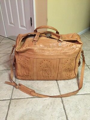Vintage Hand Tooled Leather Duffle Bag
