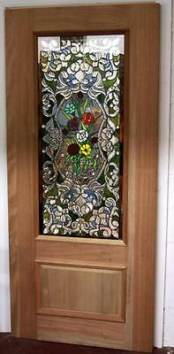 Beautiful Hand Made Stained Glass  Mahogany Entry Door