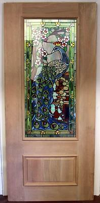 Beautiful Stained Glass Peacock Mahogany Entry Door