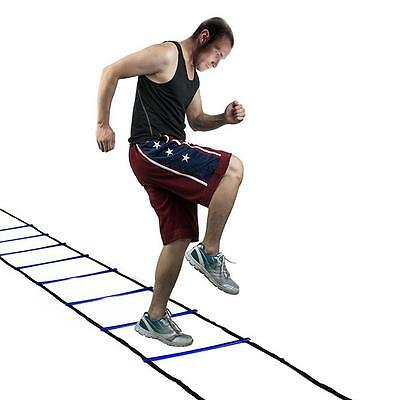 Blue 9 Sections Sports Agility Speed Footwork Soccer Football Training Ladder