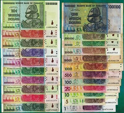 1 to 10 Trillion Zimbabwe Dollars Set of 20 Different Bank Notes w/ 100 Million+