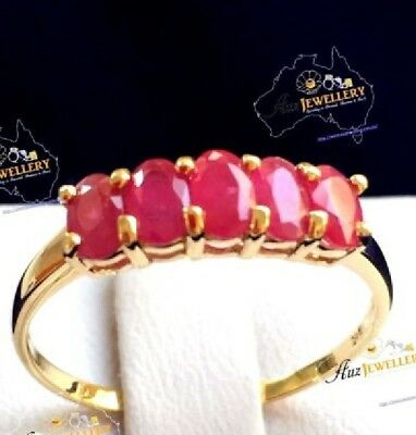 1.46ct TW Genuine Ruby in Real 9K Solid Yellow Gold YG Ring Size 5, 6, 7, 8, 9