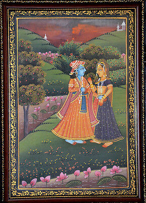 Original framed miniature painting of King Queen on silk cloth natural colors