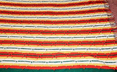 """Rare Family Crochet Blanket 82""""x53"""" Colorful Diamonds Hand-Knitted Throw Afghan"""
