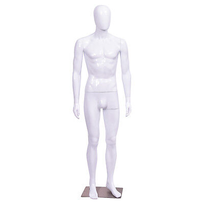 Male Mannequin Egghead Plastic Full Body Dress Form Display High Gloss White New