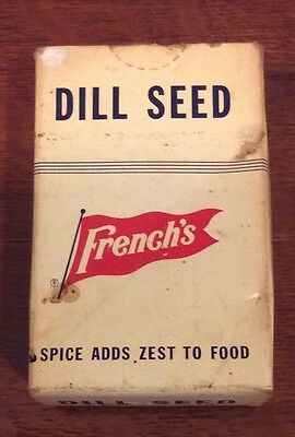 """Vintage Advertising French's Dill Seed 1 1/2 oz 3"""" Unopened 1950's"""