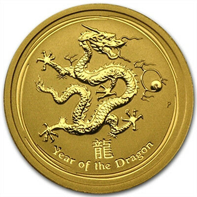 WOW ! ~ 2012 ~ 1/4 OZ PURE .9999 GOLD~ YEAR of the DRAGON ~ PERTH MINT ~ $488.88