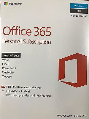 New Microsoft Office 365 Personal One Year Subscription 1 Pc/mac + 1 Tablet