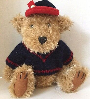 Tully Plush Bear Pickford Brass Button 10 Inch Jointed Blue and Red Sweate Cap