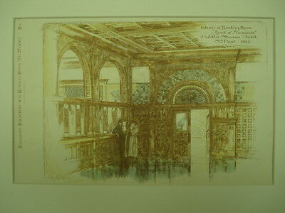 Interior of Banking Room, Bank of Minnesota, St. Paul, MN, 1887, Original Plan