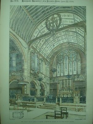 Interior of Chancel, New Church of St. George, Worcester, UK, 1894,Original Plan
