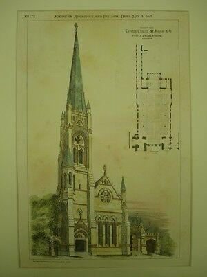 Design for Trinity Church, St. John's, NB, Canada, 1879, Original Plan