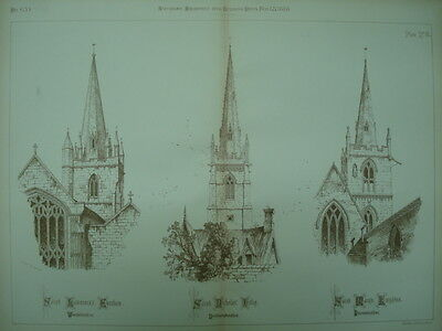 Three Churches in Evesham, Islip, and Knighton, UK, 1888, Original Plan