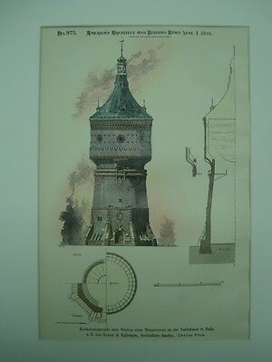 Competitive Design, New Water Tower on York Street, Halle, Germany, 1894, Orig.