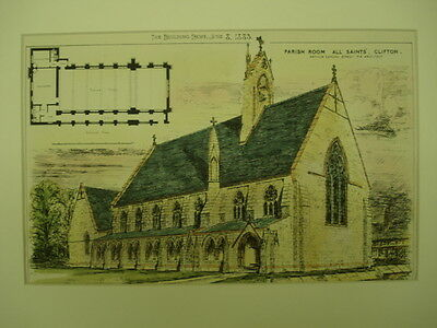 Parish Room, All Saints' Church, Clifton, Bristol, England, 1883, Original Plan