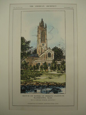 Tower of Perkins Insitute, Watertown, MA, 1912, Original Plan