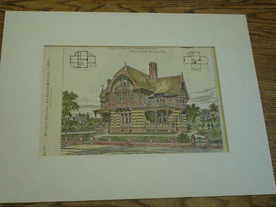 Design Suburban Residence,W. VA,Architect & Bldg News,HAND-COLORED,1882