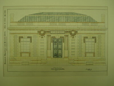 Front Elevation, Case Library Building, Auburn, NY, 1900, Original Plan