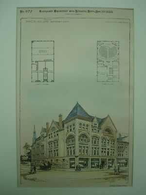 Proposed YMCA Building, Bridgeport, CT, 1888, Original Plan