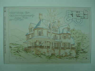Cottage for Dr. Edw. Wigglesworth, Jackson, NH, 1888, Original Plan