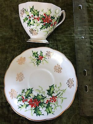 """Vintage - Queen Anne Fine Bone China - """"Yuletide"""" - Cup and Saucer - Christmas"""