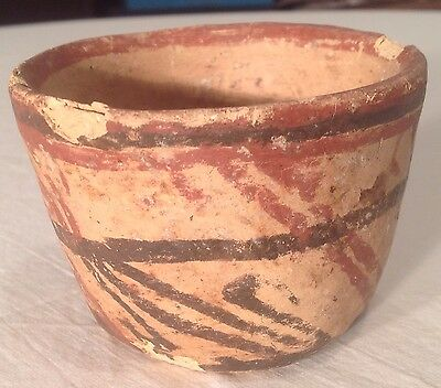Small Pre-Columiban Mayan Pottery Earthwave Bowl Red & Black Paint Ancient Art