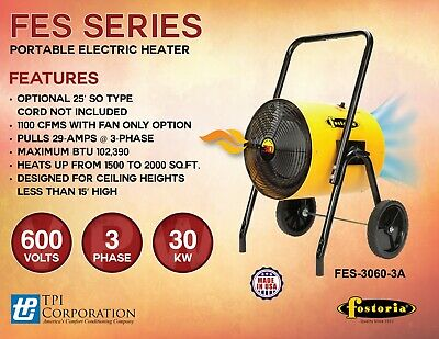 Fostoria FES-3060-3A 102,390 Btu's/30kW ELECTRIC HEATER 600V 3PH