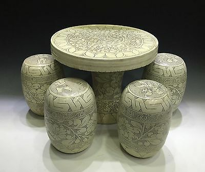 A set Chinese porcelain Cizhou kiln table & chairs with flower & children design