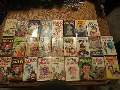 MAD MAGAZINE VINTAGE PAPER BACK BOOKS LOT OF 25 ~ 1960's 70's - AS FOUND